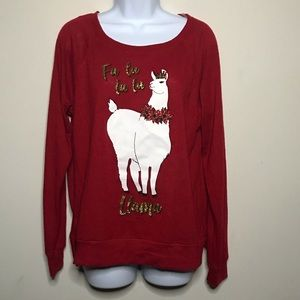 Francesca's Holiday Shirt Red Glitter Size Medium